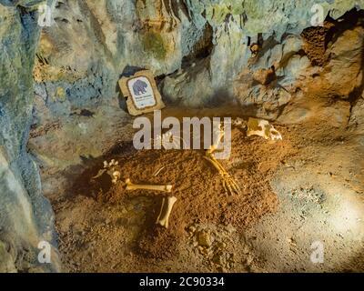 Remains of bear in Biserujka cave in island Krk in Croatia Europe - Stock Photo
