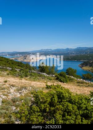 Scenery view atop Voz towards bridge to mainland on island Krk in Croatia Europe - Stock Photo