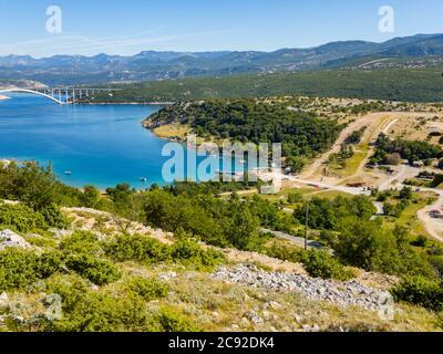 Scenery view atop Voz towards bridge to mainland on island Krk in Croatia Europe - Stock Photo