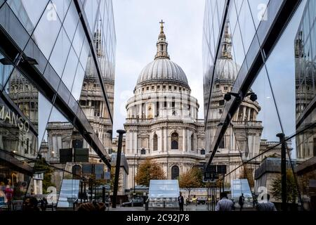 St Paul's Cathedral Reflected In The Windows Of One New Change Shopping Centre, London, England.