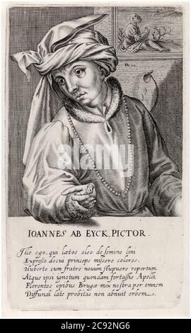 Jan Van Eyck (before 1390-1441), Early Netherlandish painter, artist, portrait engraving by Hendrik Hondius I, 1610 - Stock Photo