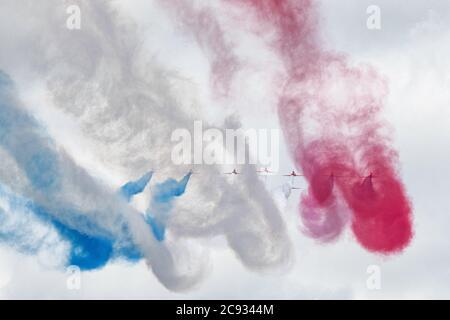 RAF Red Arrows aerobatic team - Stock Photo