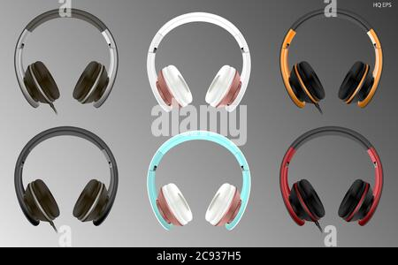 Realistic high quality modern headset wired or wireless. Digital dj headphones vector illustration. Electronic studio speakers Commercial ads mockup. - Stock Photo