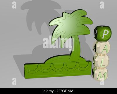 3D representation of PALM with icon on the wall and text arranged by metallic cubic letters on a mirror floor for concept meaning and slideshow presentation. background and illustration - Stock Photo
