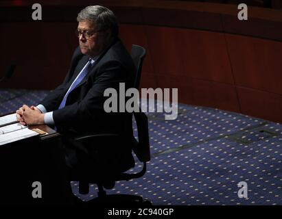 Washington DC, USA. 28th July 2020.  U.S. Attorney General William Barr testifies before the House Judiciary Committee during a hearing titled 'Oversight of the Department of Justice' on the Capitol Hill in Washington, DC, the United States, on July 28, 2020. (Chip Somodevilla/Pool via Xinhua) Credit: Xinhua/Alamy Live News - Stock Photo