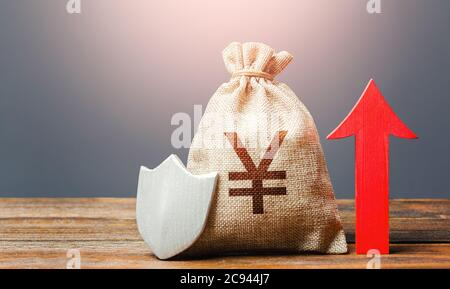 Yen Yuan sterling money bag with a shield and a red arrow up. Safety of investments, savings. Increasing the maximum amount of guaranteed insurance co