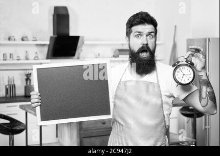 Chef at work. surprised bearded man in cook apron. lunch time. Time alarm on diet and healthy lifestyle. best offer ever. culinary and cuisine. copy space. Cooking Time. dinner menu from skilled chef. - Stock Photo