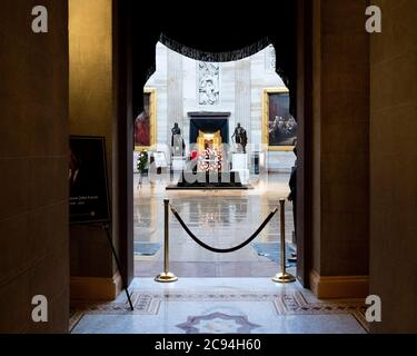 Washington, DC, USA. 28th July, 2020. July 28, 2020 - Washington, DC, United States: The Capitol Rotunda with the Lincoln Catafalque that supported the casket of John Lewis. Credit: Michael Brochstein/ZUMA Wire/Alamy Live News - Stock Photo