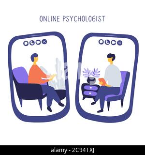 Doctor and patient communicate by video call. Online psychiatrist concept. Two people on screens of smartphones are talking to each other. Hand drawn