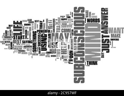 Word Cloud Summary of The Power Of Your Subconscious Mind Article - Stock Photo