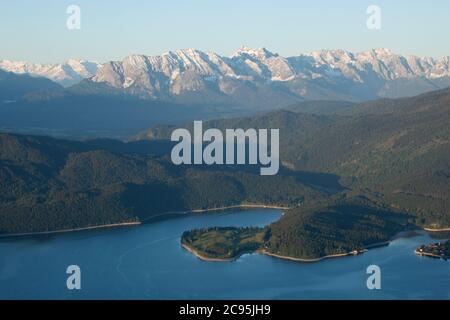 geography / travel, Germany, Bavaria, Bavarian Alps, view from Jochberg (peak) towards the Walchensee , Additional-Rights-Clearance-Info-Not-Available - Stock Photo
