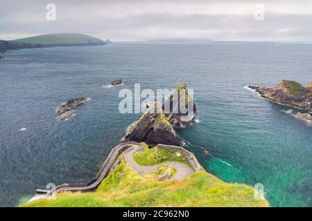 The stunning view of the Blasket islands from the Dunquin pier (Dún Chaoin). Dingle peninsula, County Kerry, Munster province, Ireland, Europe. - Stock Photo