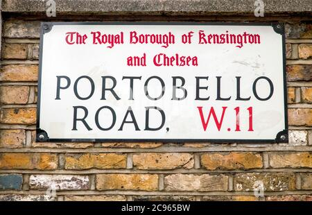 London, United Kingdom - Portobello Road in the Notting Hill district. Street sign. | London, Grossbritannien - Portobello Road im Stadtteil Notting H - Stock Photo