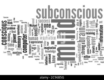 Word Cloud Summary of The Power Of Our Subconscious Mind Article - Stock Photo