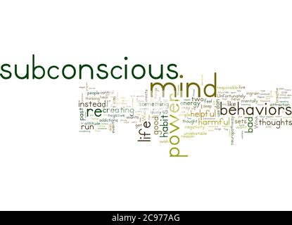 Word Cloud Summary of The Power Of The Subconscious Mind Can Be Yours Article - Stock Photo