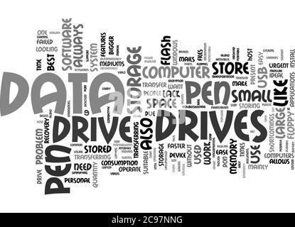 Word Cloud Summary of Data Transfer Made Easy By Pen Drive Article - Stock Photo