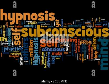 Word Cloud Summary of article Self Hypnosis Power of the Subconscious Mind - Stock Photo
