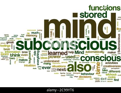 Word Cloud Summary of Unleash Your Subconscious Mind Power Article - Stock Photo