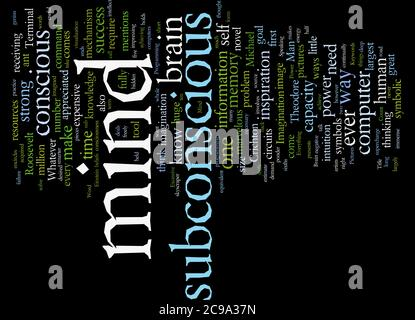 Word Cloud Summary of article The Power Of Our Subconscious Mind - Stock Photo