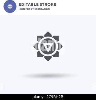 Chakra icon vector, filled flat sign, solid pictogram isolated on white, logo illustration. Chakra icon for presentation. - Stock Photo