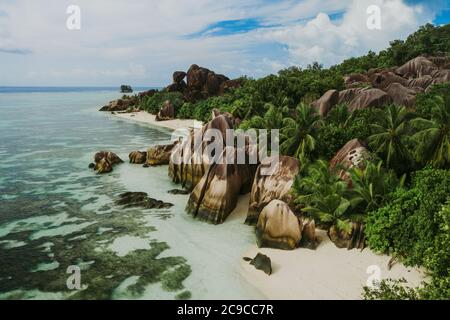 'La digue' island in Seychelles. Silver beach with granitic stone, and jungle. Aerial view shot with mavic2