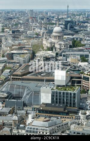 Aerial shot of London with the London Mithraeum, St. Paul's Cathedral, and BT Tower, etc. - Stock Photo