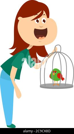 Girl selling a bird, illustration, vector on white background - Stock Photo