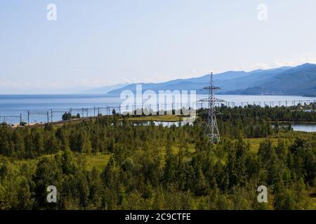 View of the section of the Trans-Siberian Railway near the city of Slyudyanka, Irkutsk Region, Russia. Lake Baikal.