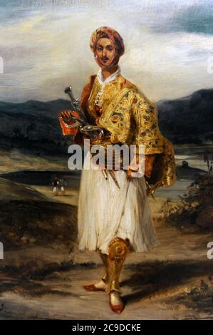 Eugene Delacroix (1798-1863). French painter. Count Palatiano in a Greek National costume, 1826. National Gallery. Prague. Czech Republic.