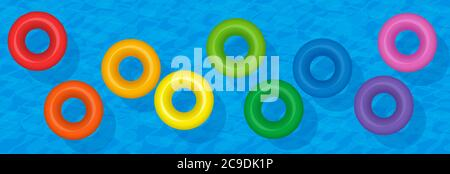 Colorful swim rings, inflatable water tubes, rainbow colored set of floating plastic donuts on blue water, symbol for group travel fun. - Stock Photo