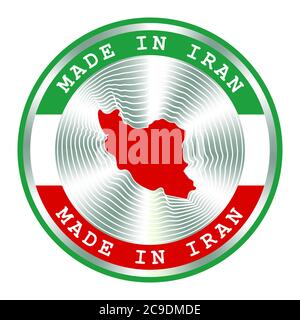 Made in Iran seal or stamp. Round hologram sign for label design and national Iran marketing. Local production icon - Stock Photo