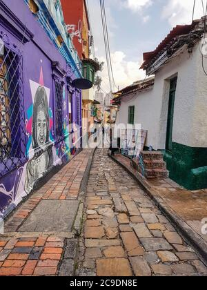small alleyway in the old town of Bogota, the capital and largest city of Colombia