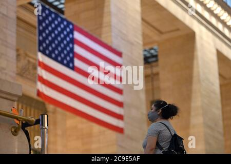 New York City, USA. 30th July, 2020. A woman wears a protective face mask inside Grand Central Terminal in New York, NY, July 30, 2020. (Anthony Behar/Sipa USA) Credit: Sipa USA/Alamy Live News - Stock Photo