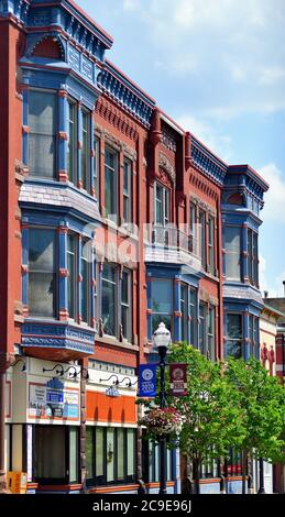 Elgin, Illinois, USA. Colorful facades on downtown building in the river city of Elgin, Illinois.