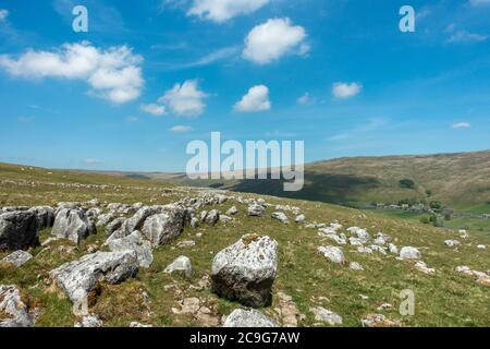 Stunning views over limestone pavement to Halton Gill at the head of Littondale, Yorkshire Dales National Park, UK