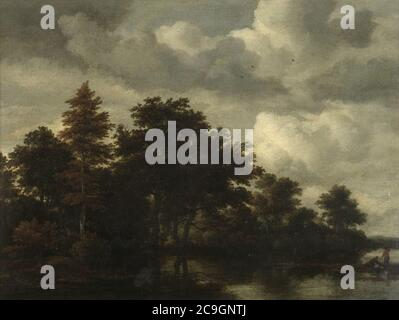 Jacob van Ruisdael - A Woodland landscape with figures by a river. - Stock Photo