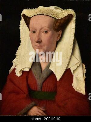 Jan van Eyck (±1390-1441) Portret van Margareta van Eyck (1432) MSK Gent 3-02-2020 15-45-18. - Stock Photo