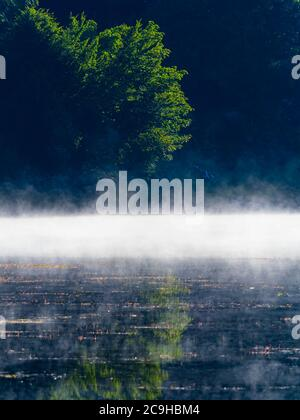 Morning bright mist fog above water surface of Lake Mrzla vodica in Croatia Europe Stock Photo