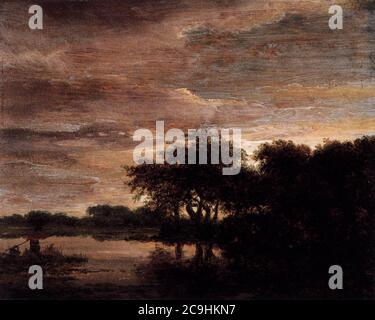 Jacob Isaacksz. van Ruisdael - Woodland Scene with Lake - Stock Photo