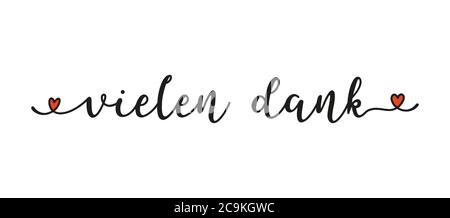 Hand sketched VIELEN DANK word in German as ad, web banner. Lettering for banner, header, flyer, poster, card. - Stock Photo