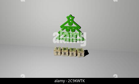 3D representation of TREE with icon on the wall and text arranged by metallic cubic letters on a mirror floor for concept meaning and slideshow presentation. background and christmas - Stock Photo
