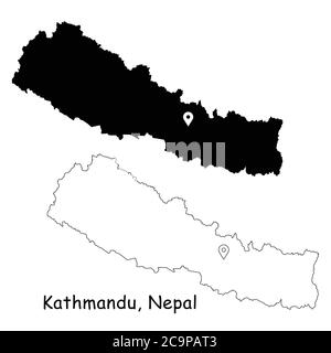 Kathmandu, Federal Democratic Republic of Nepal. Detailed Country Map with Location Pin on Capital City. Black silhouette and outline maps isolated on - Stock Photo