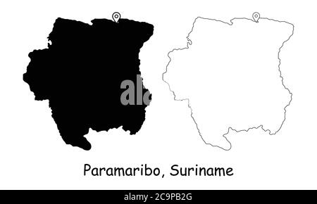 Paramaribo, Suriname. Detailed Country Map with Location Pin on Capital City. Black silhouette and outline maps isolated on white background. EPS Vect - Stock Photo