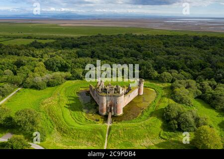 Aerial view of Caerlaverock Castle, Dumfries & Galloway, Scotland.