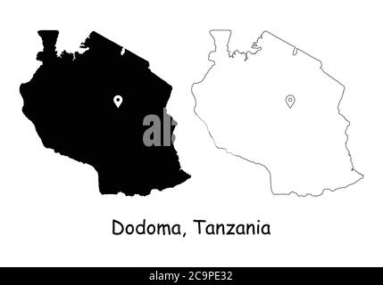 Dodoma, United Republic of Tanzania. Detailed Country Map with Location Pin on Capital City. Black silhouette and outline maps isolated on white backg - Stock Photo