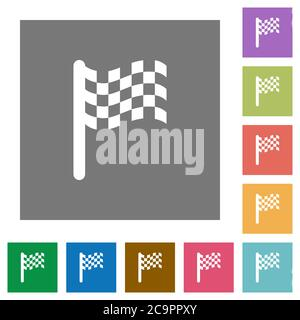 Race flag flat icons on simple color square backgrounds - Stock Photo