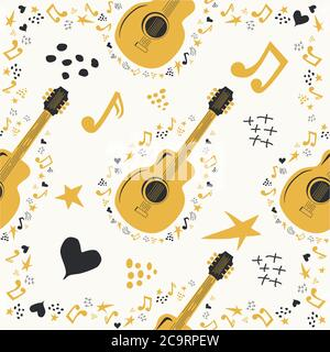 Hand-drawn musical seamless pattern with country guitar, stars, notes, symbols, objects and elements. - Stock Photo