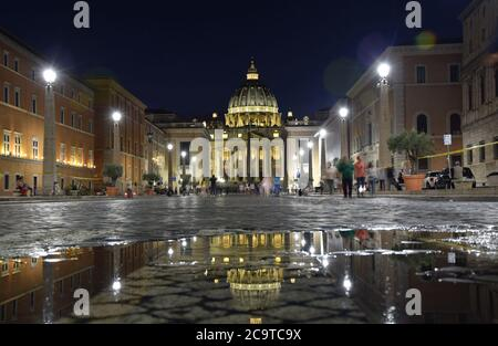 St. Peter's Basilica on St. Peter's Square by night in the city of Rome, Italy