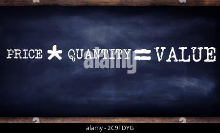 Price multiply by quantity equal to value business equation word presented with digital text art black chalkboard pattern for learning purpose. - Stock Photo