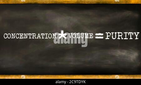Concentration multiply by volume equal to purity business equation word presented with digital text art black chalkboard pattern for learning purpose. - Stock Photo
